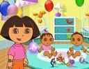 Dora bebek bakım oyunu Dora bebekleri beslemek istiyor ona yardım eder misini...