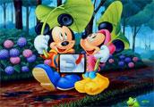 Mickey mouse ile sevgilisi Minnie mouse suyun kenarında yaprakları kendilerin...