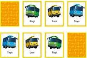 Tayo hafıza kartları eşleştirme oyununda Tayo'nun minibüslerini eşleştirme oy...
