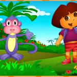 Kaşif Dora fark bulmaca oyunu, dora ile maymununun yanında tilki ve güvercinl...